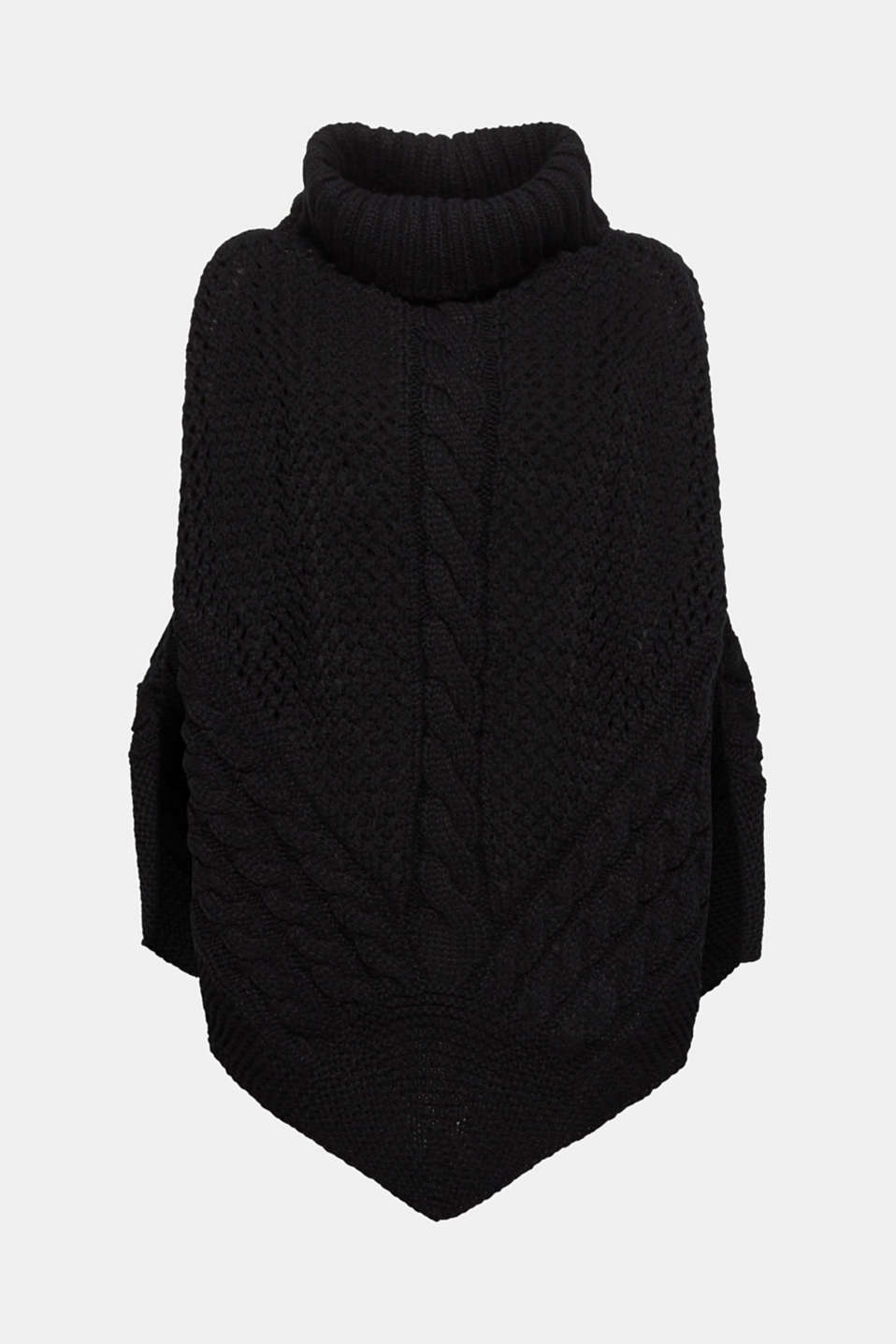 Chunky knit poncho with a cable pattern, BLACK, detail image number 3