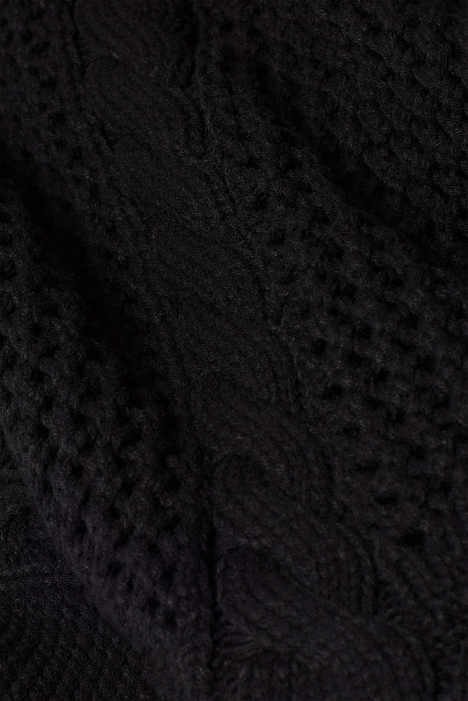 Chunky knit poncho with a cable pattern, BLACK, detail image number 4