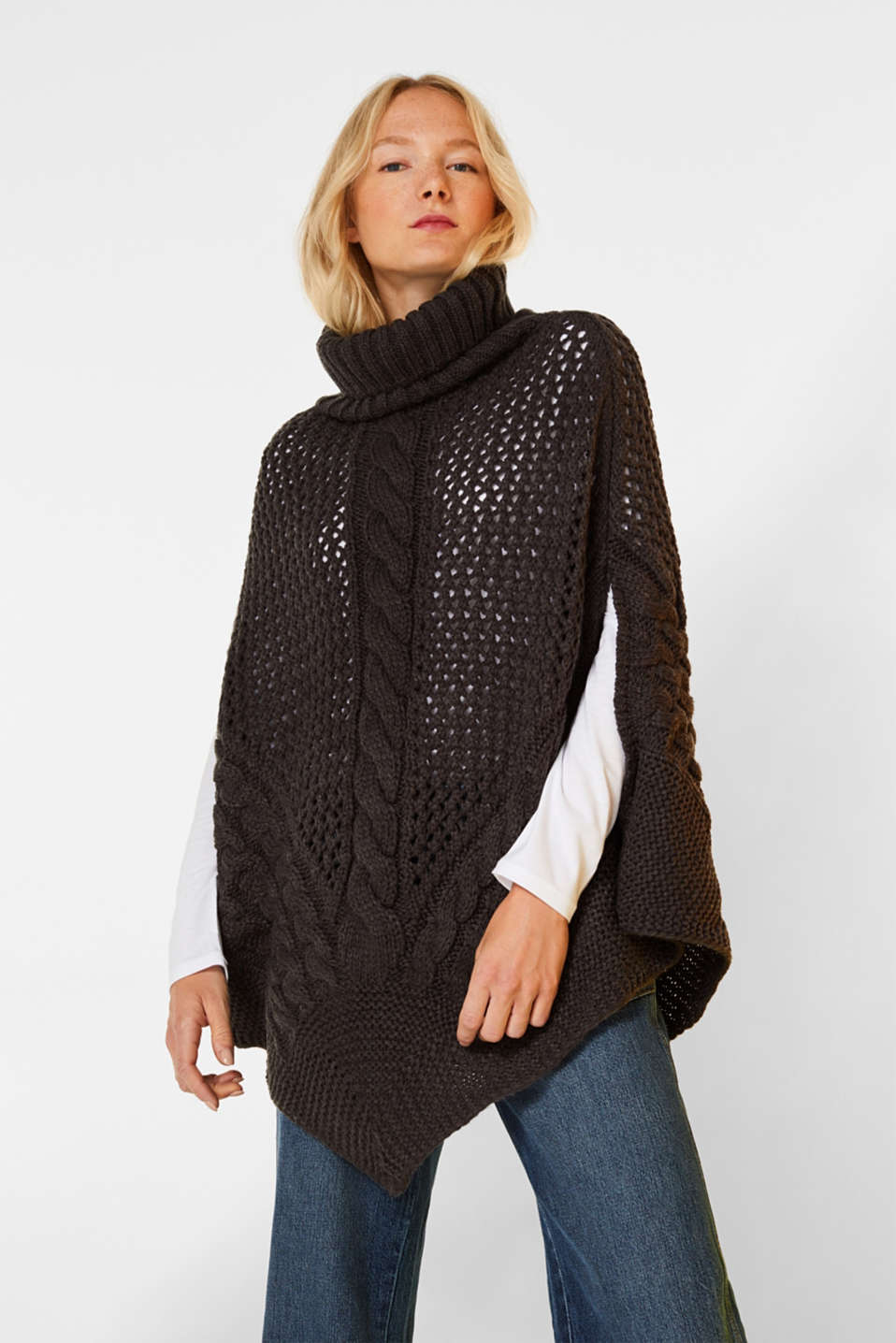Chunky knit poncho with a cable pattern, ANTHRACITE, detail image number 0