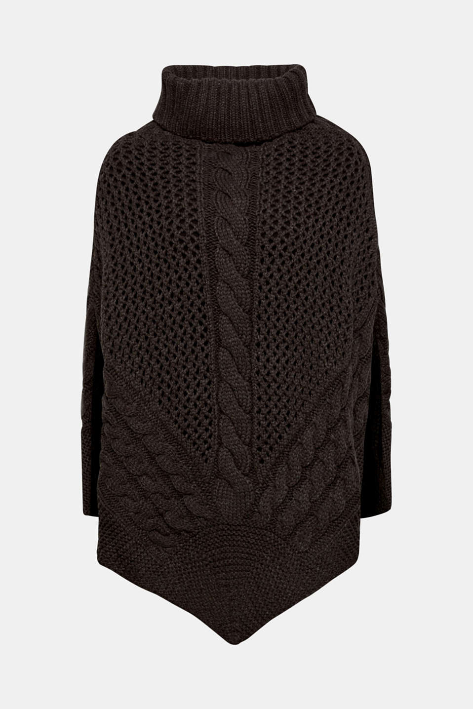 Chunky knit poncho with a cable pattern, ANTHRACITE, detail image number 2