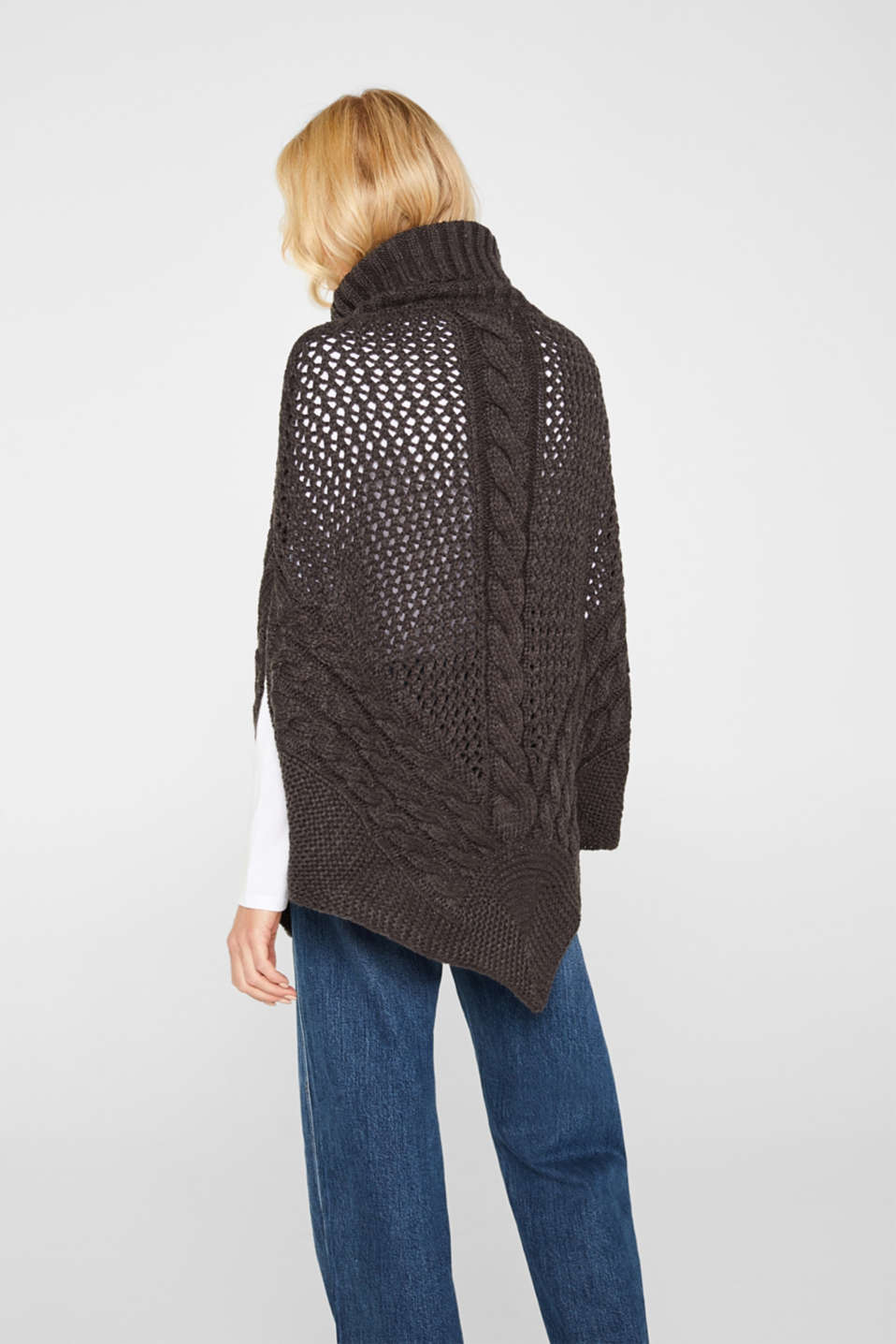 Chunky knit poncho with a cable pattern, ANTHRACITE, detail image number 3