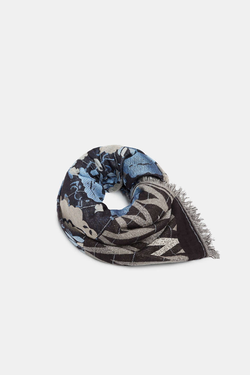 Oversized scarf with floral intarsia, GREY, detail image number 0