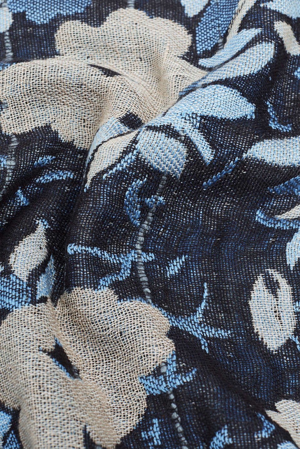 Oversized scarf with floral intarsia, GREY, detail image number 2