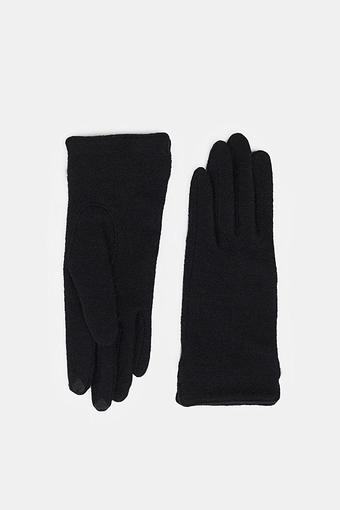 Made of blended wool: Touchscreen gloves, BLACK, detail image number 0