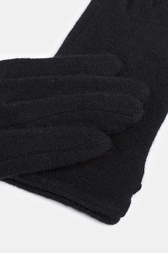 Made of blended wool: Touchscreen gloves, BLACK, detail image number 1
