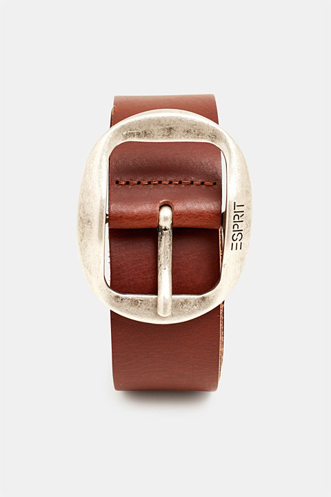 Leather belt with a buckle