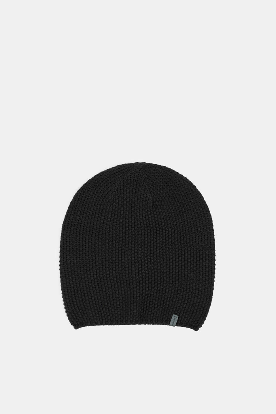 Knit cap with a texture, BLACK, detail image number 0