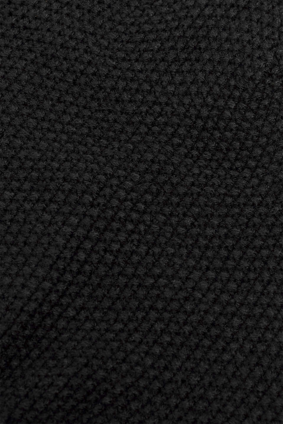Knit cap with a texture, BLACK, detail image number 1