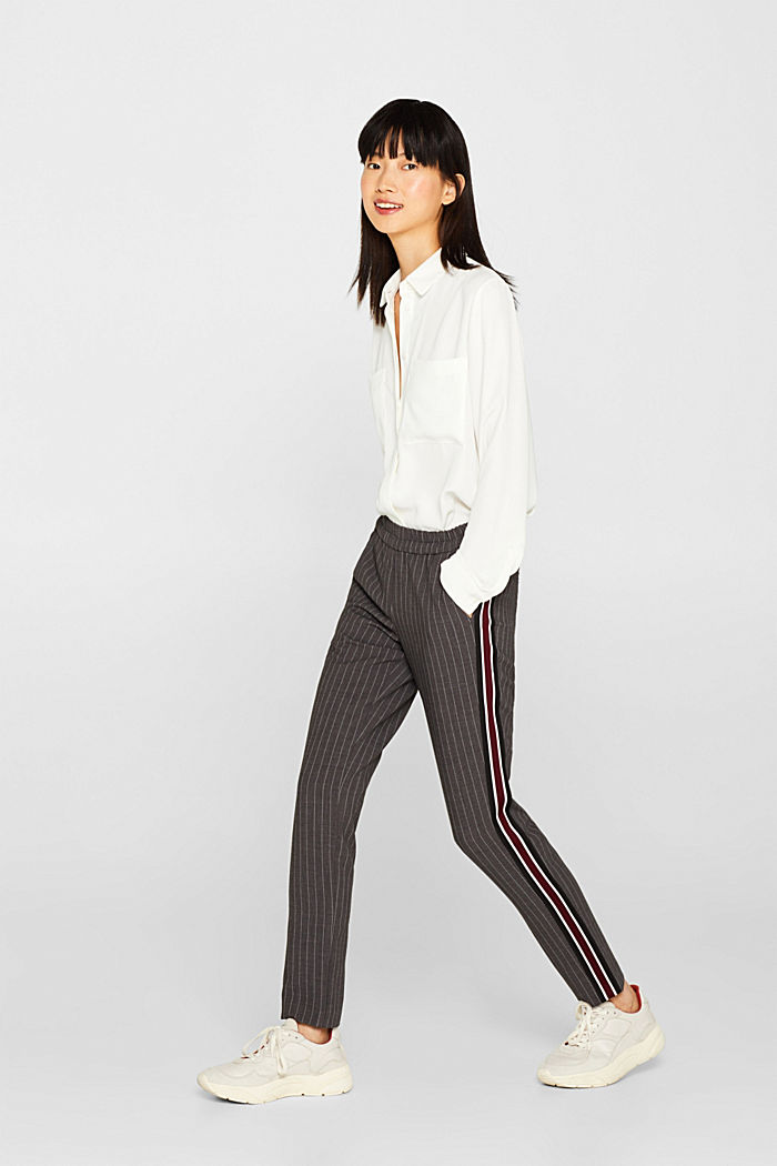 Stretch trousers with racing stripes, DARK GREY, detail image number 0