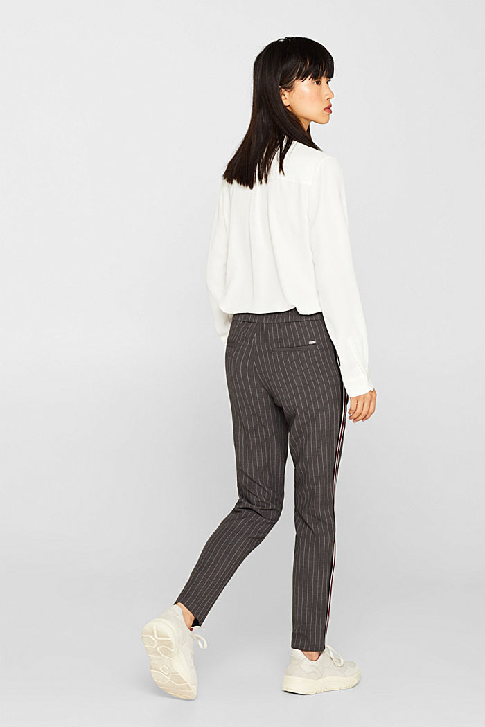 Stretch trousers with racing stripes, DARK GREY, detail image number 3