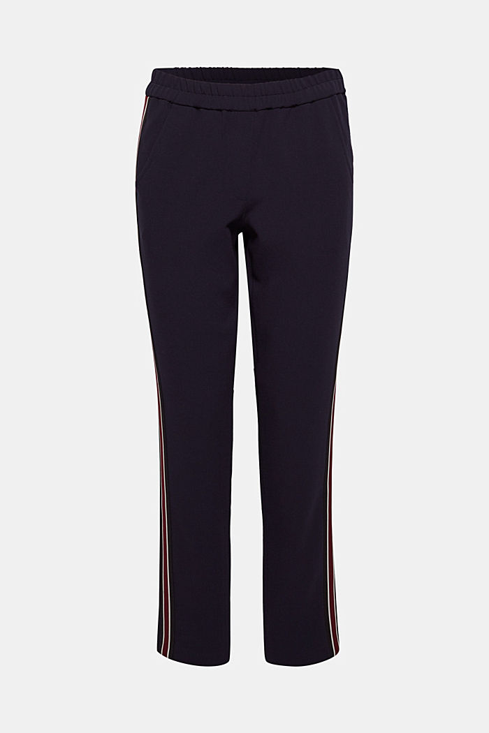 Stretch trousers with racing stripes, NAVY, detail image number 0