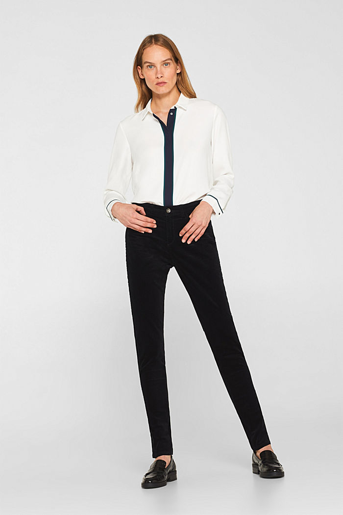 Stretch corduroy trousers, BLACK, detail image number 0