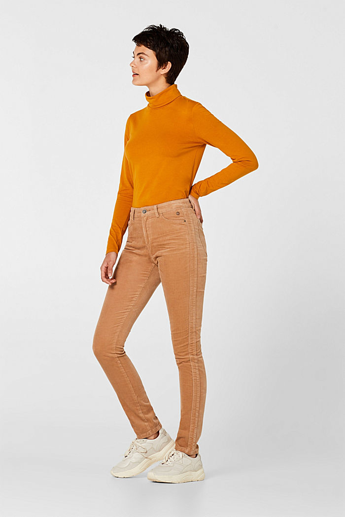 Stretch corduroy trousers, CAMEL, detail image number 0