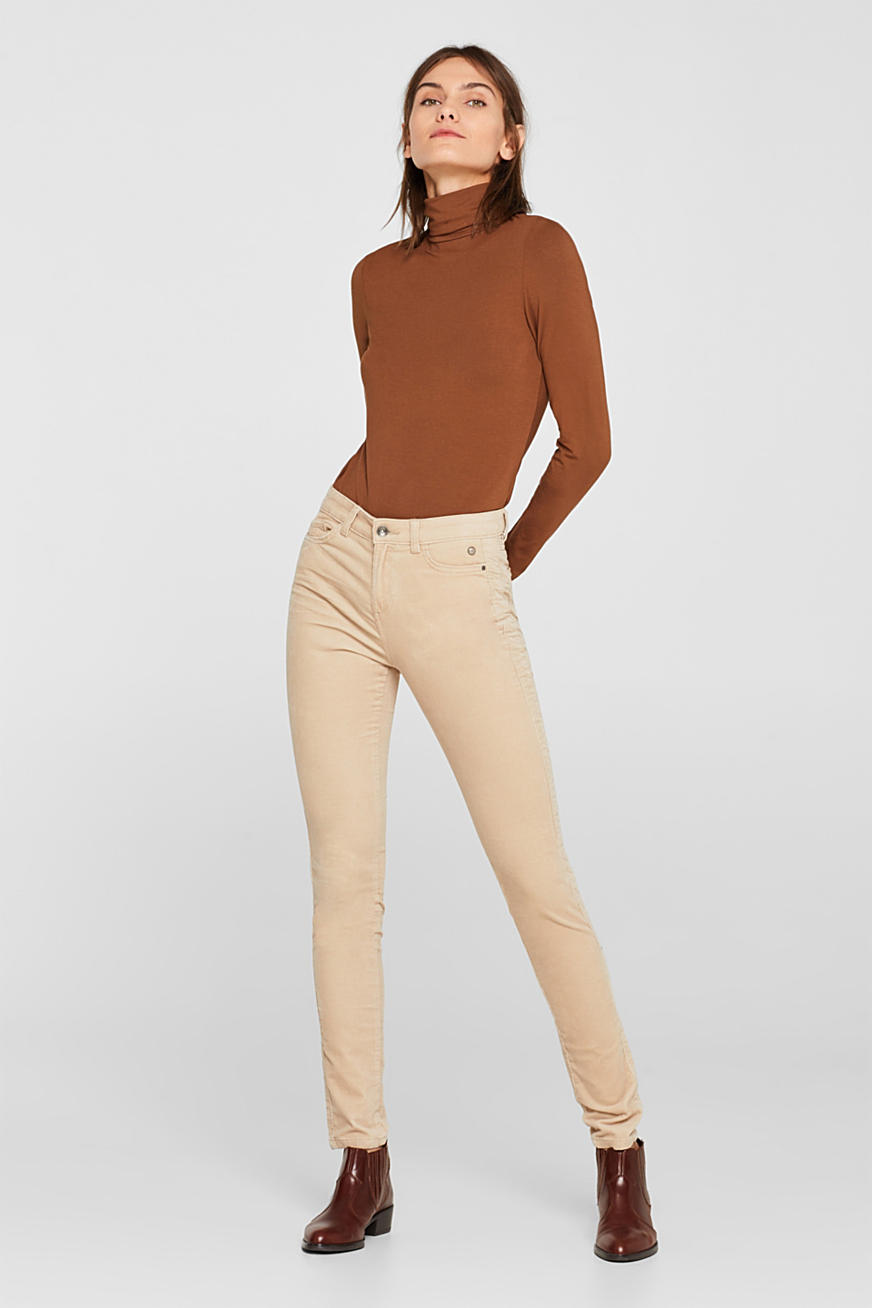 Pantalon stretch en velours côtelé