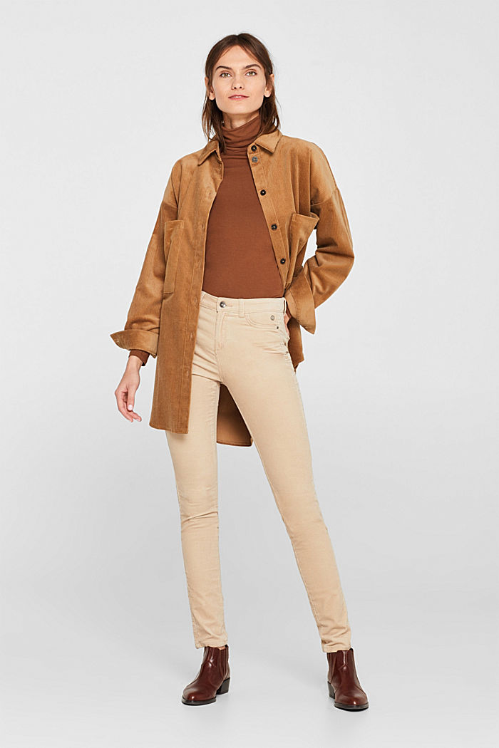 Stretch corduroy trousers, LIGHT BEIGE, detail image number 1