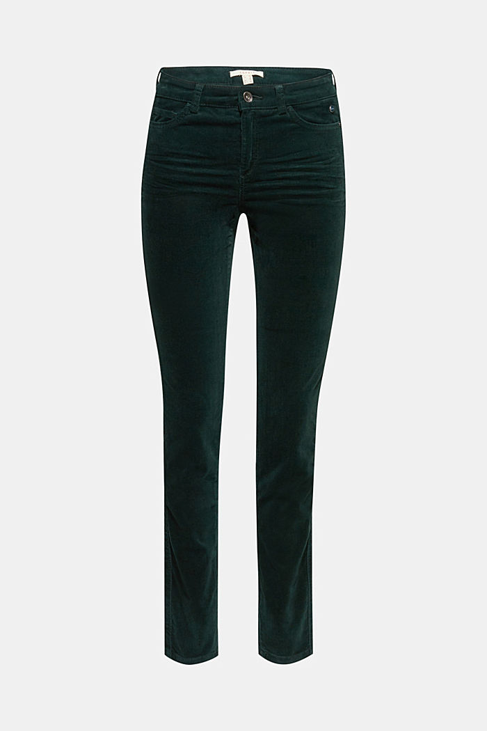 Stretch corduroy trousers, DARK TEAL GREEN, detail image number 6