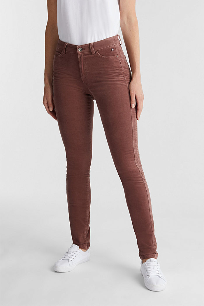 Stretch corduroy trousers, DARK MAUVE, detail image number 0