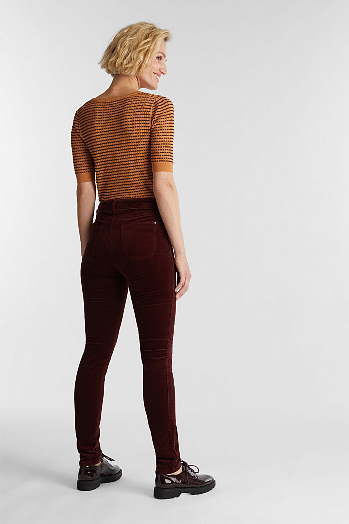 Stretch corduroy trousers, BORDEAUX RED, detail image number 3