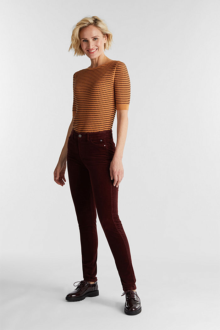 Stretch corduroy trousers, BORDEAUX RED, detail image number 1