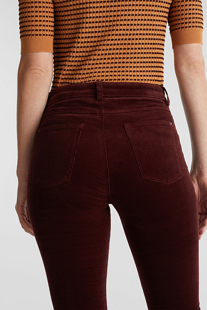 Stretch corduroy trousers, BORDEAUX RED, detail image number 5