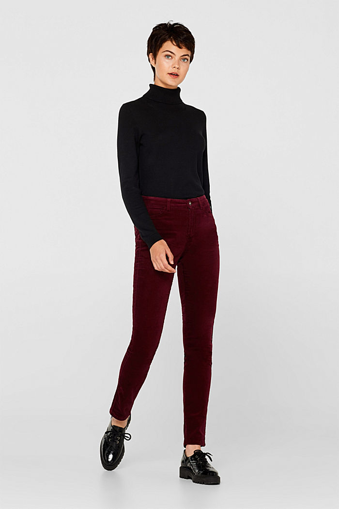 Stretch corduroy trousers, GARNET RED, detail image number 0