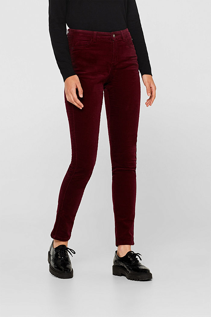 Stretch corduroy trousers, GARNET RED, detail image number 6