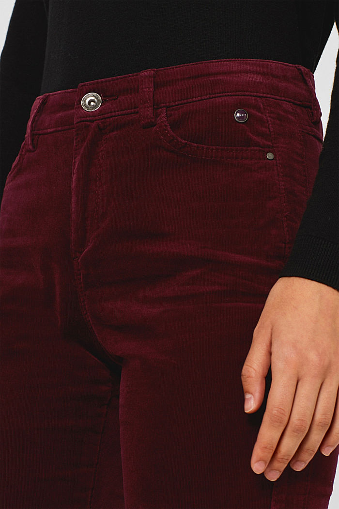 Stretch corduroy trousers, GARNET RED, detail image number 2