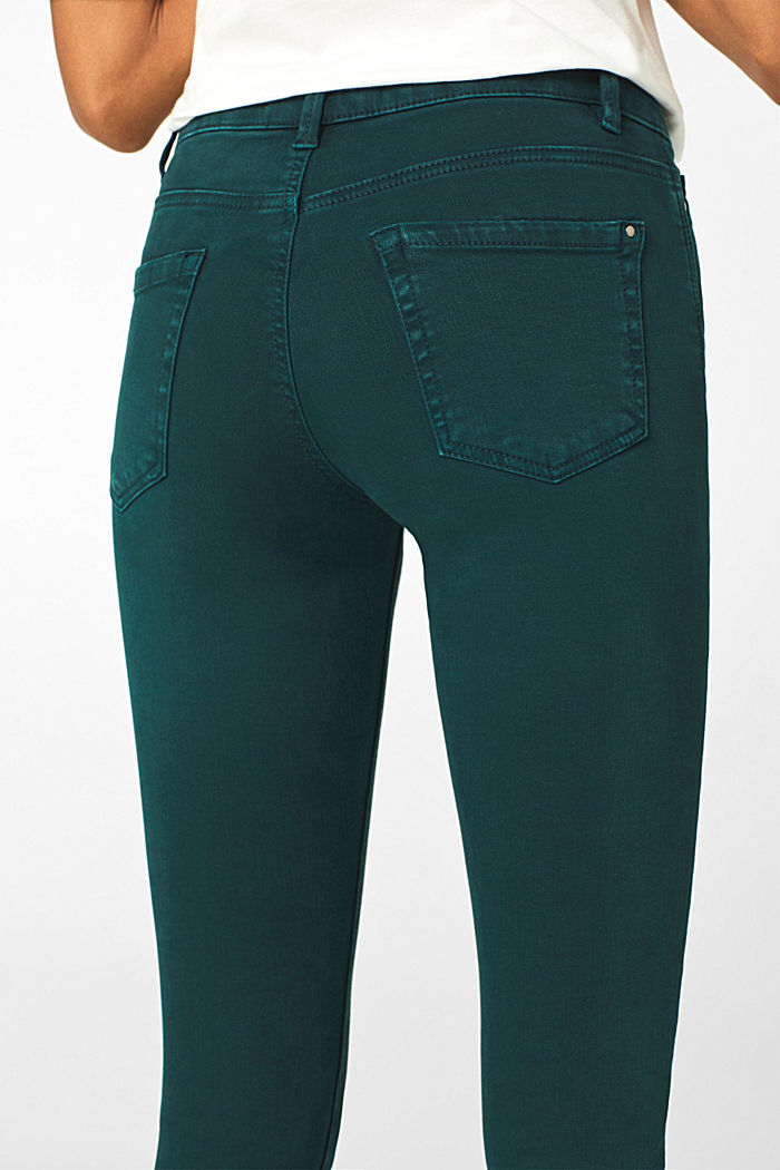 Shaping trousers with a washed finish, DARK TEAL GREEN, detail image number 2
