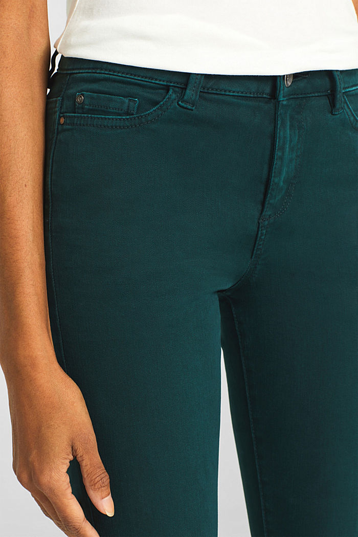 Shaping trousers with a washed finish, DARK TEAL GREEN, detail image number 5