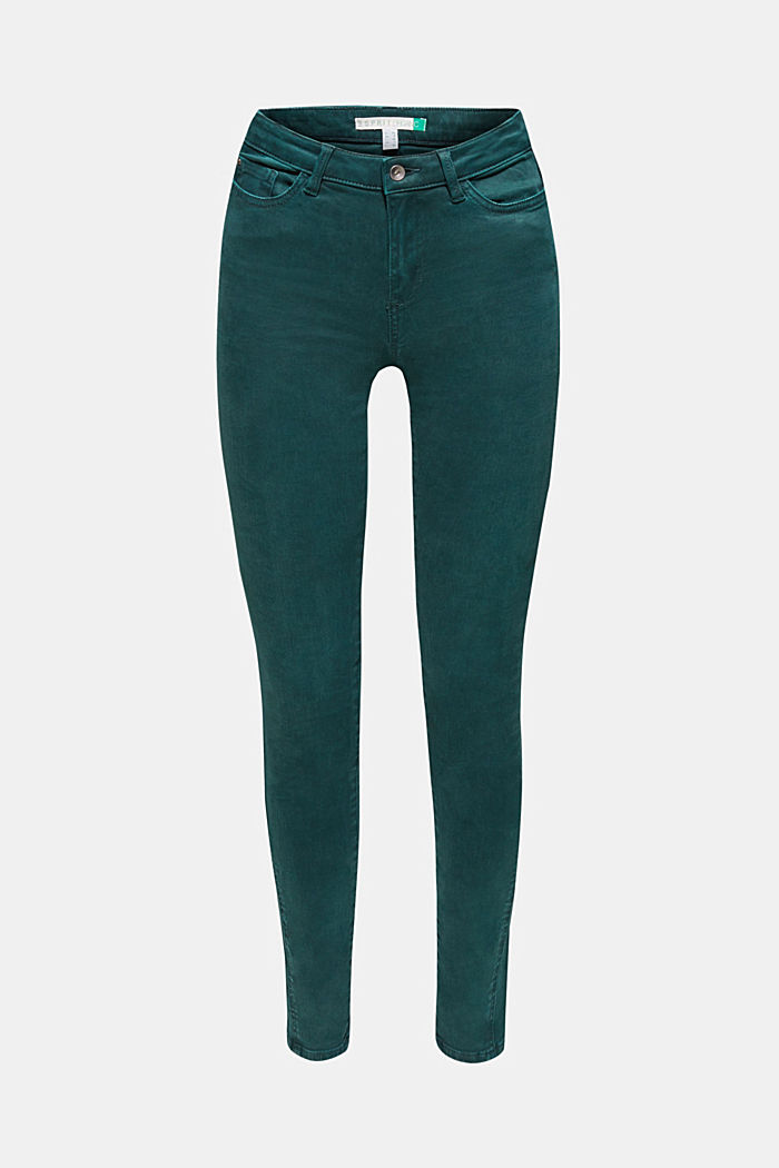Shaping trousers with a washed finish, DARK TEAL GREEN, detail image number 0