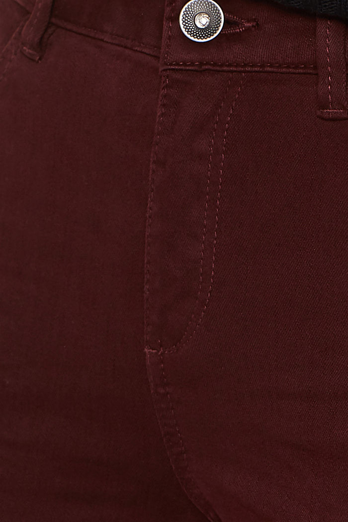 Shaping trousers with a washed finish, BORDEAUX RED, detail image number 4