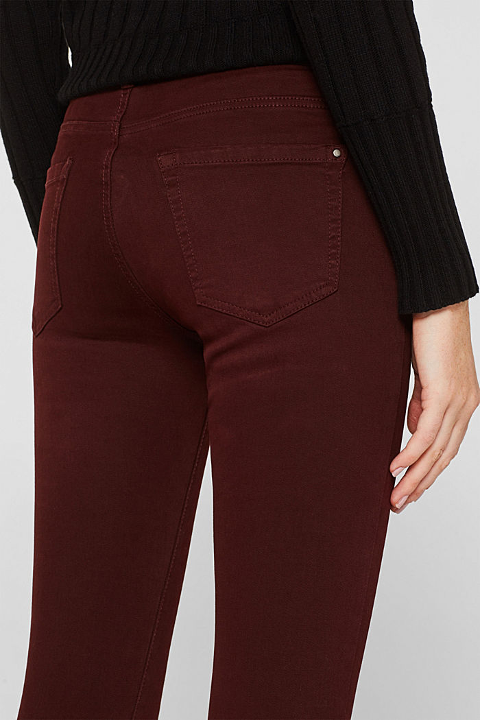 Shaping trousers with a washed finish, BORDEAUX RED, detail image number 6