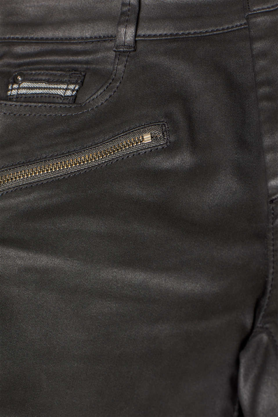 Coated stretch trousers with zips, BLACK, detail image number 4