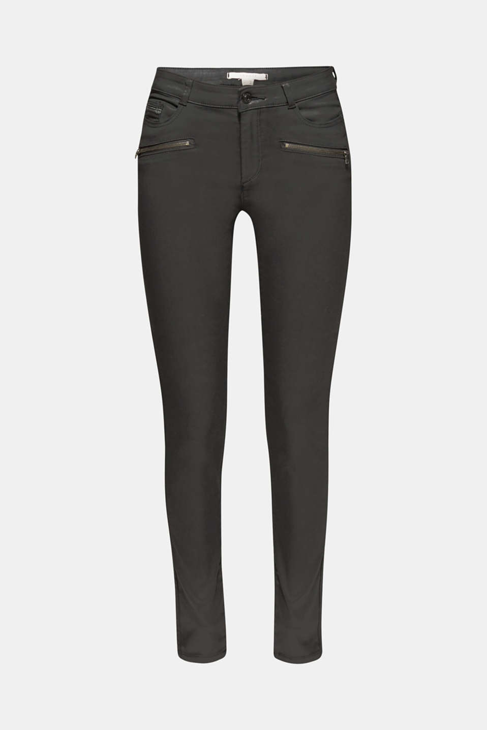Coated stretch trousers with zips, BLACK, detail image number 7