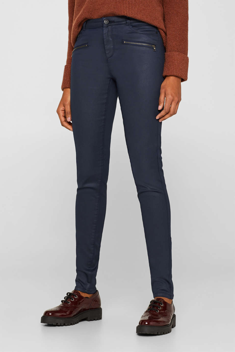 Coated stretch trousers with zips, NAVY, detail image number 6