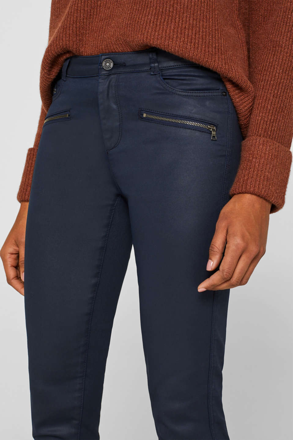 Coated stretch trousers with zips, NAVY, detail image number 2