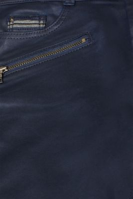 Coated stretch trousers with zips, NAVY, detail