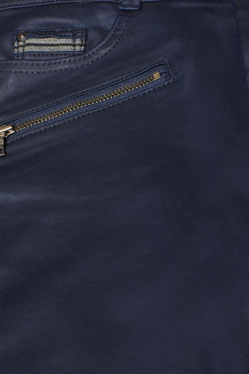 Coated stretch trousers with zips, NAVY, detail image number 4