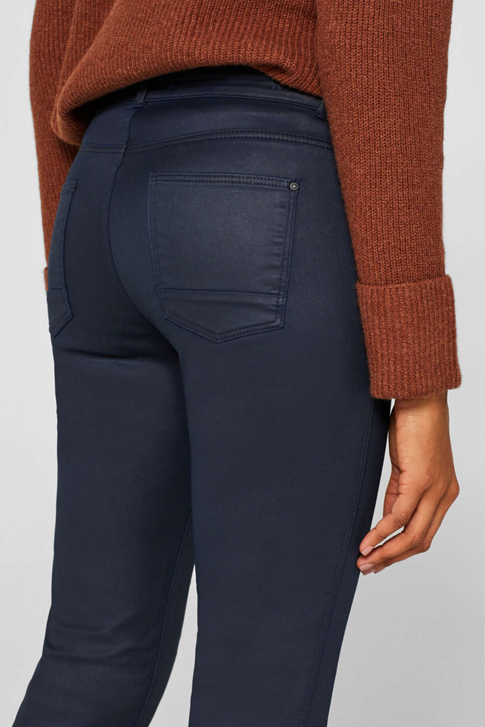 Coated stretch trousers with zips, NAVY, detail image number 5