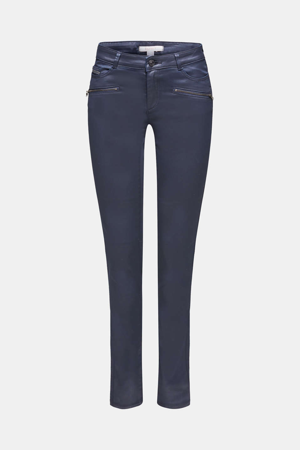 Coated stretch trousers with zips, NAVY, detail image number 7