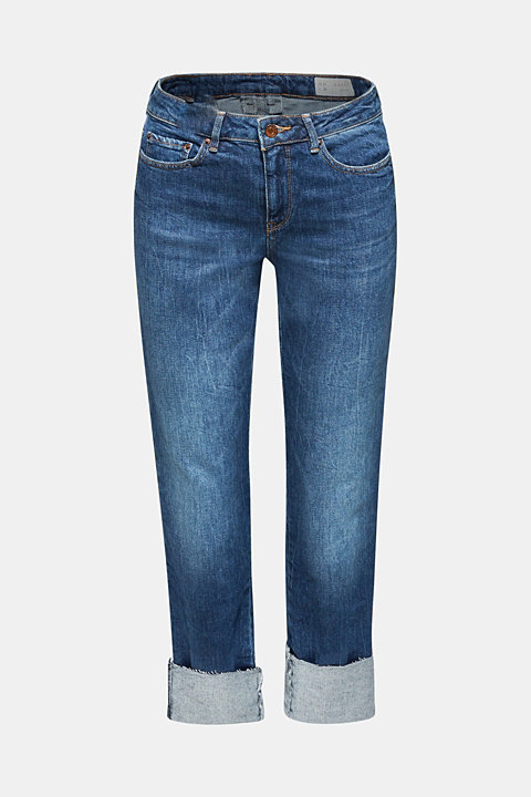 Stretch jeans with unfinished hems