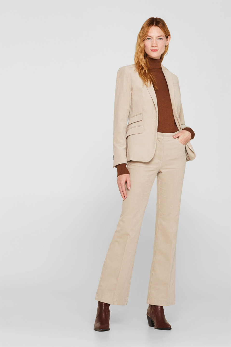 CORD mix + match bootcut trousers, TAUPE, detail