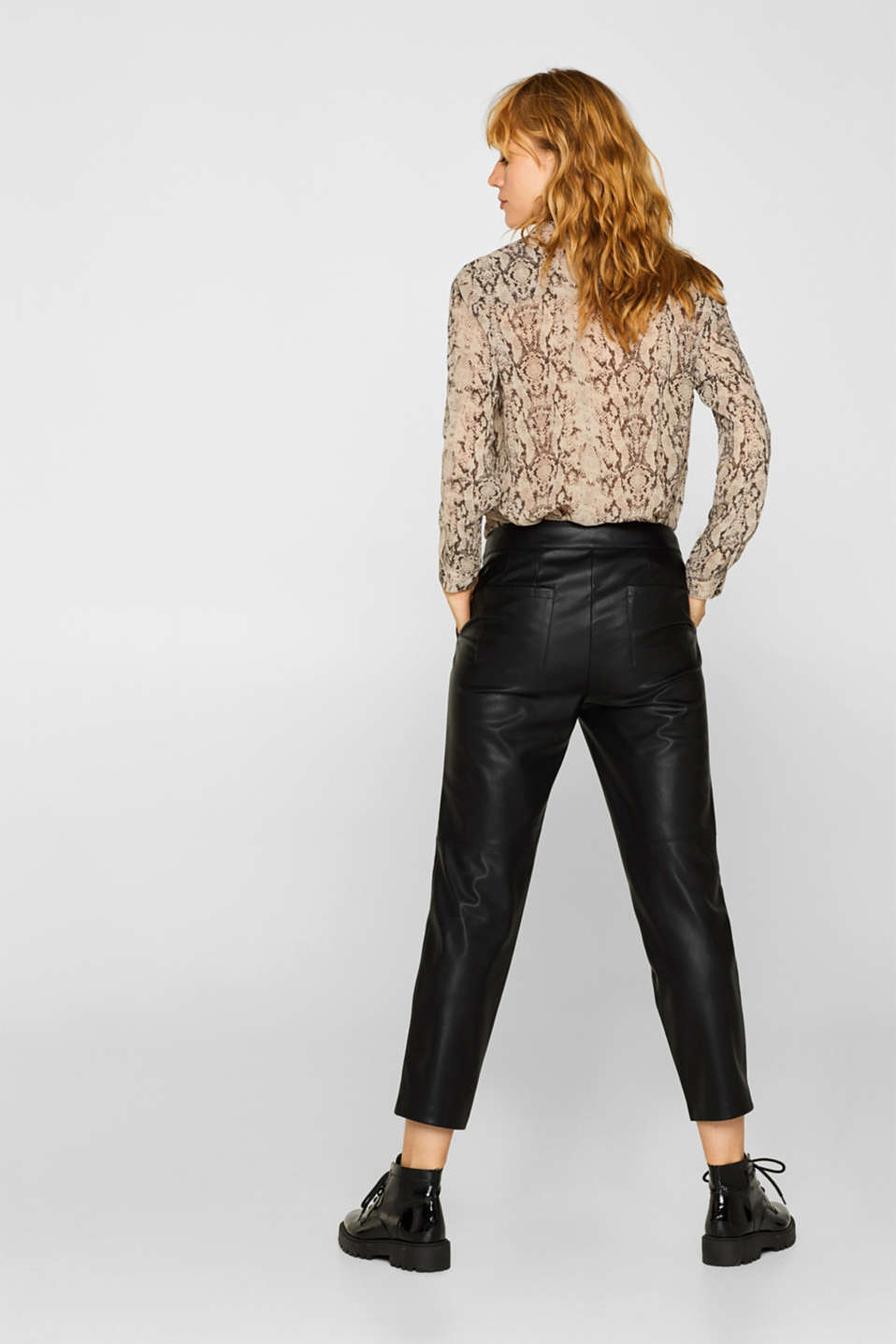 Stretch faux leather trousers, BLACK, detail image number 3