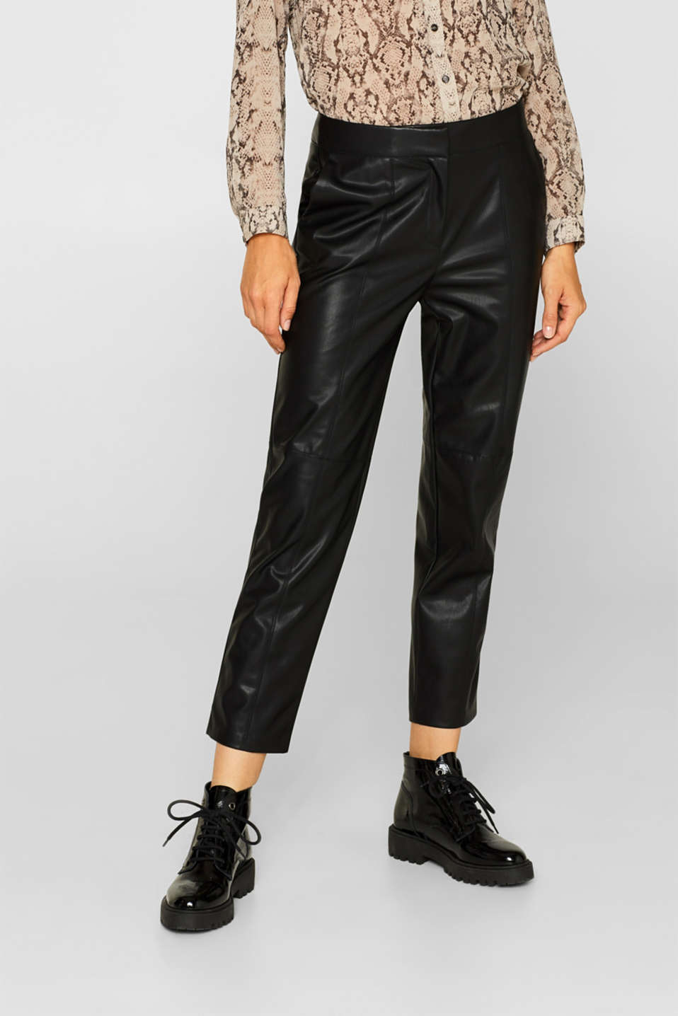 Stretch faux leather trousers, BLACK, detail image number 6