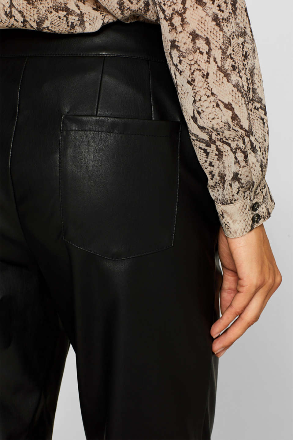 Stretch faux leather trousers, BLACK, detail image number 5