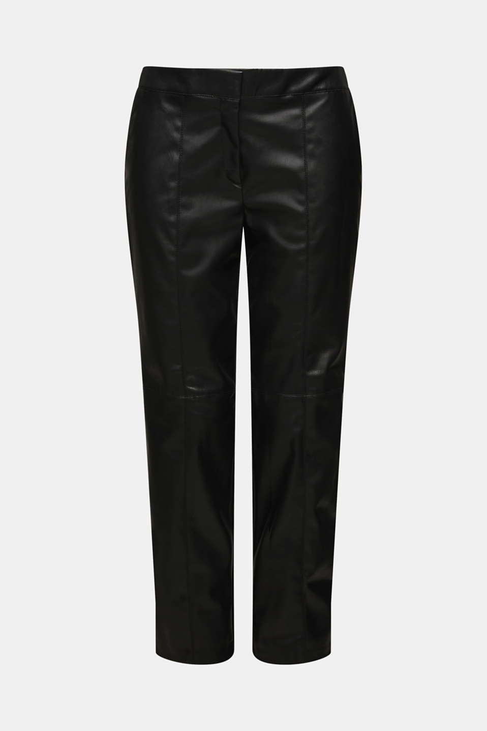 Stretch faux leather trousers, BLACK, detail image number 7