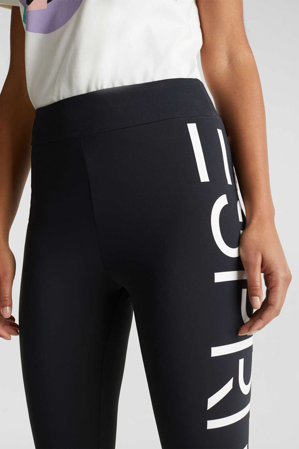 #throwback stretch trousers with a logo, 100% cotton, BLACK, detail image number 4