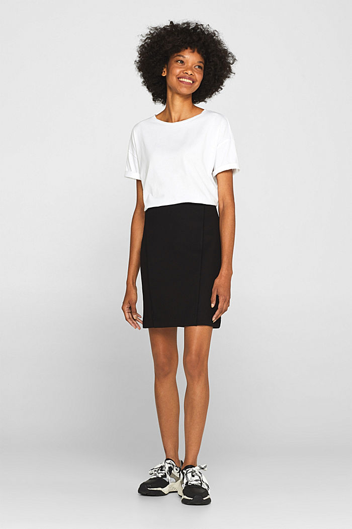 Stretch jersey skirt with pintucks, BLACK, detail image number 0