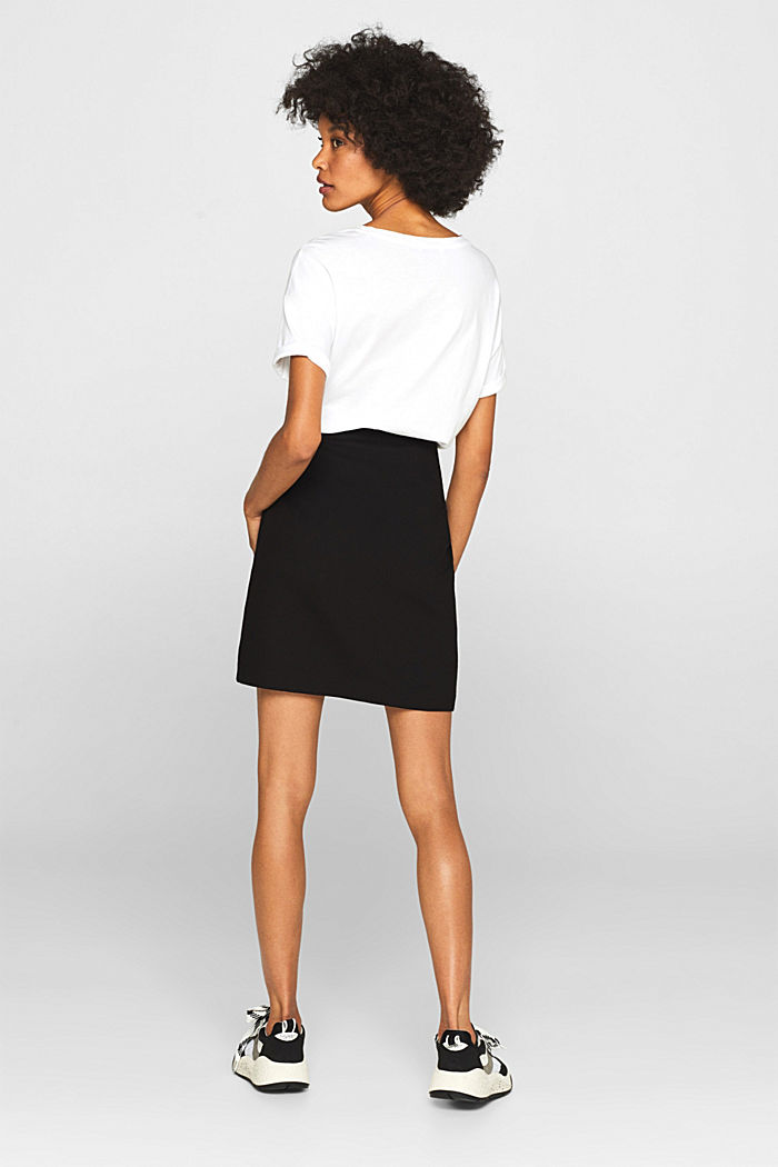 Stretch jersey skirt with pintucks, BLACK, detail image number 3