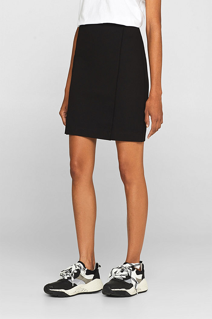 Stretch jersey skirt with pintucks, BLACK, detail image number 5